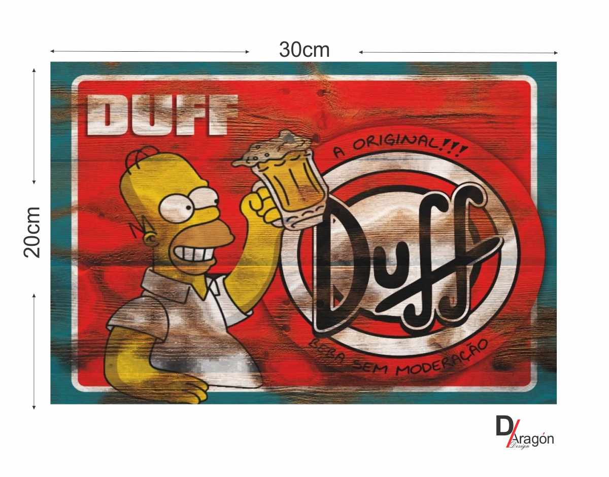 Quadro MDF 3mm Homer Simpson Cerveja Duff 20x30cm