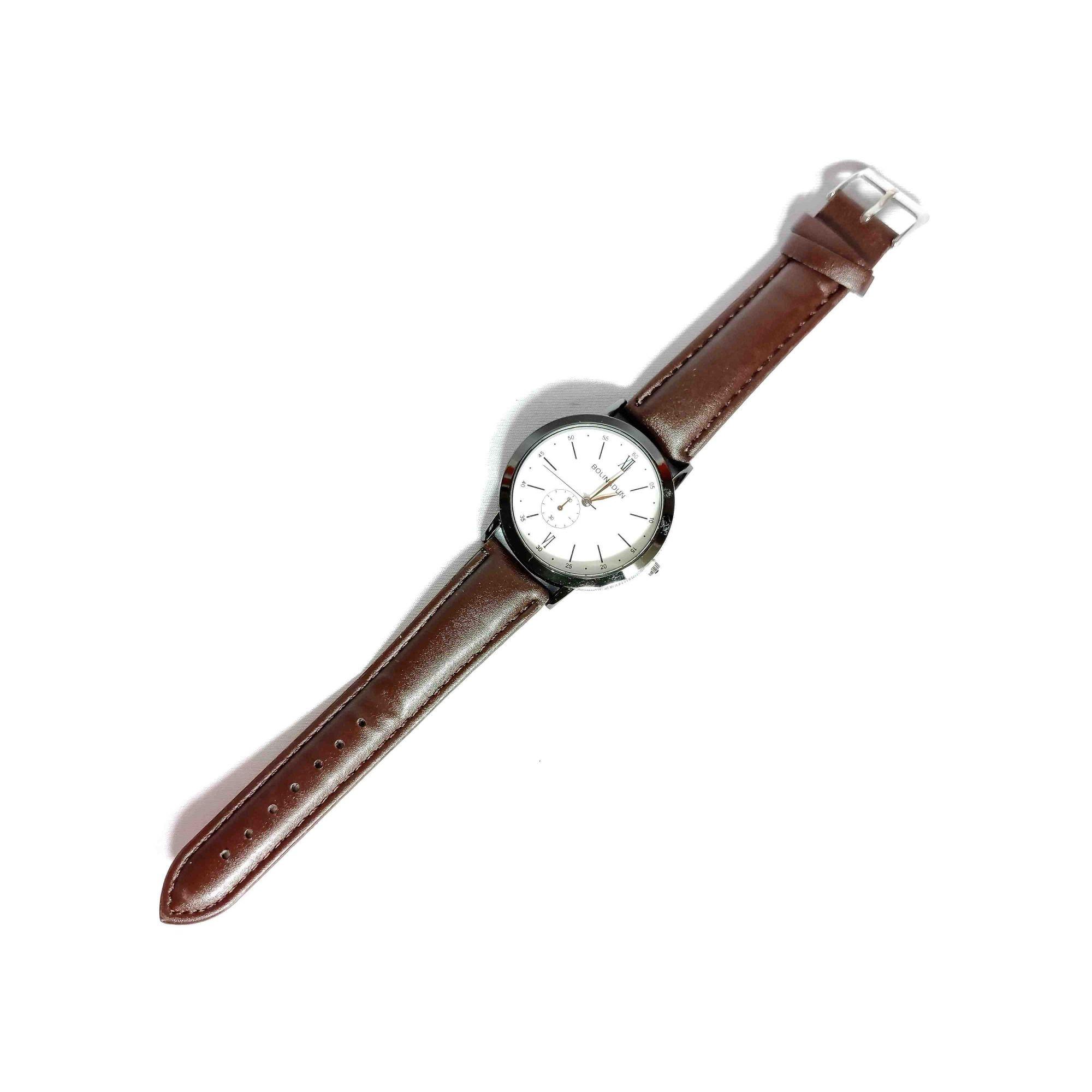 Relógio Feminino Quartz Pulseira Couro Marrom