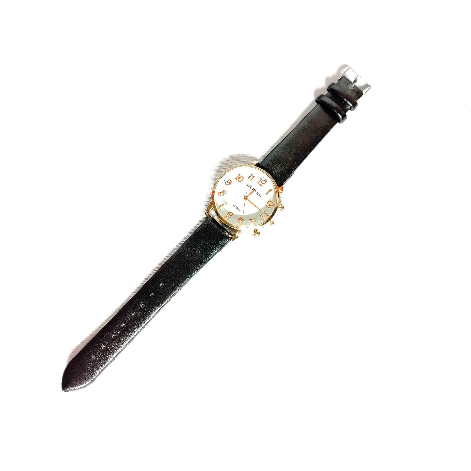 Relógio Feminino Quartz Pulseira Couro Preta