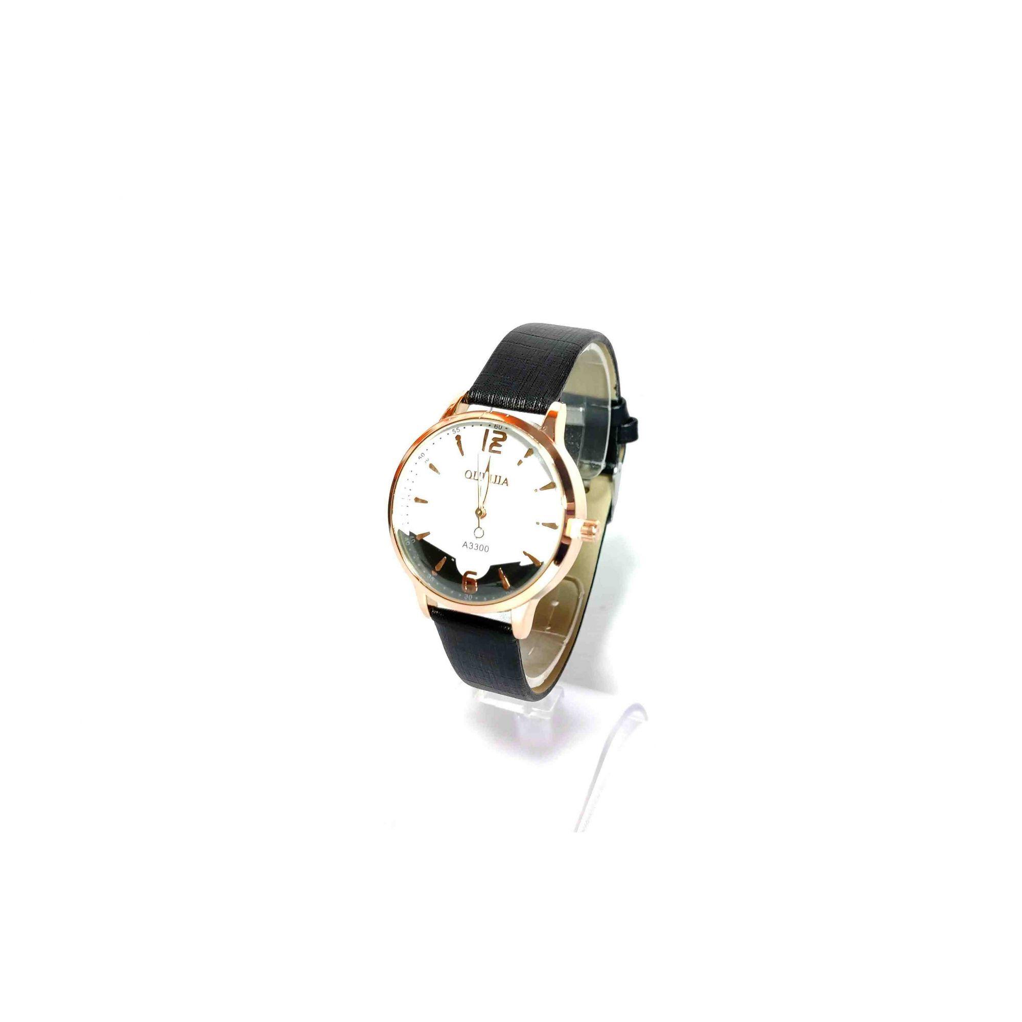 Relógio Feminino Quartz Pulseira Couro Preta A3300