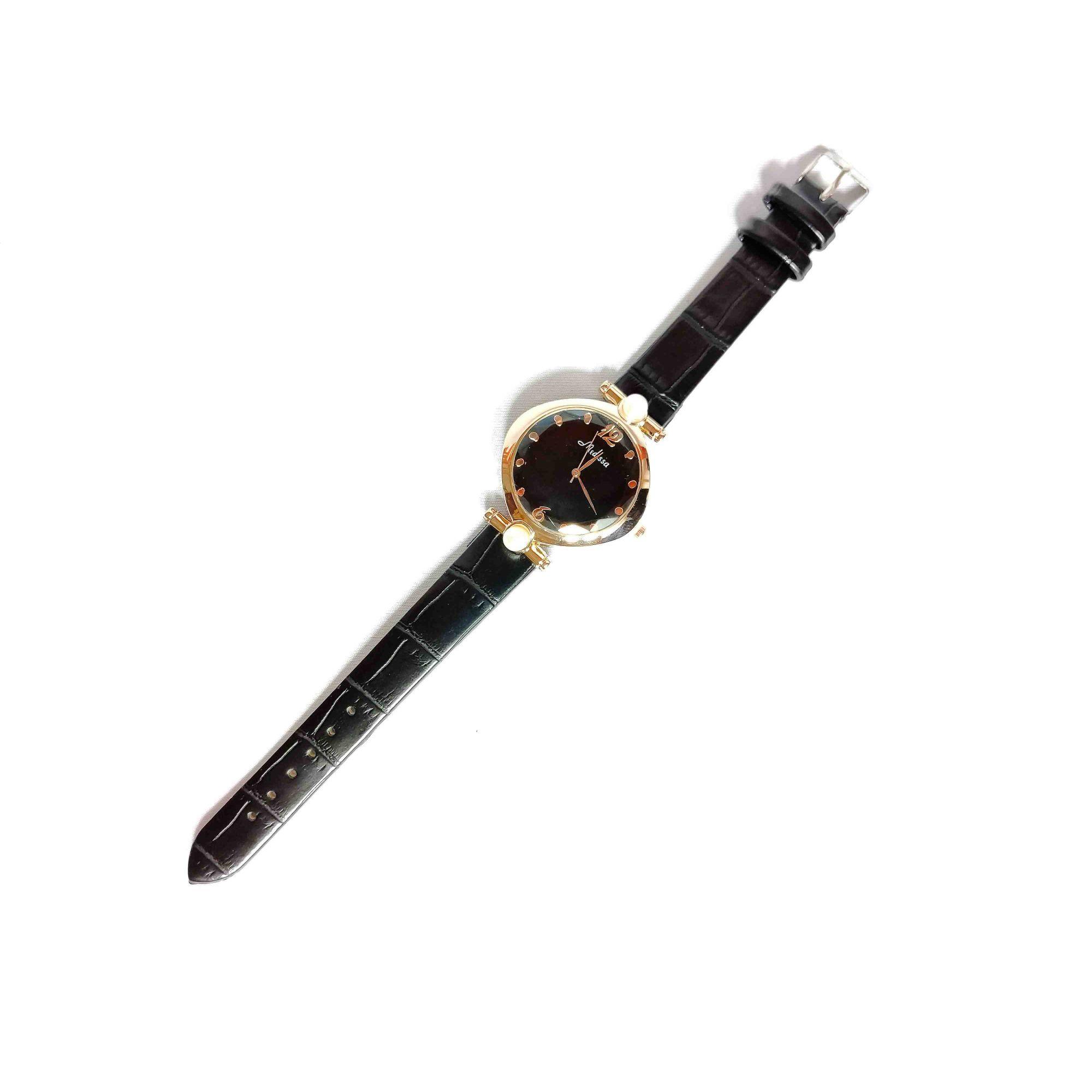 Relógio Feminino Quartz Pulseira Couro Preta Strass