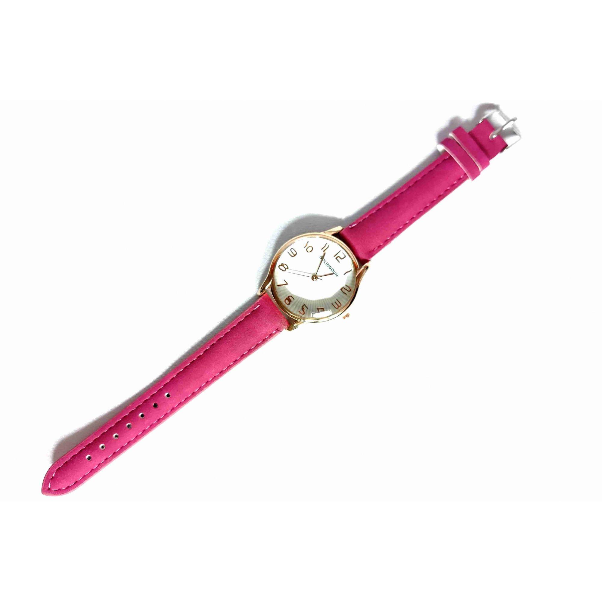 Relógio Feminino Quartz Pulseira Couro Rosa
