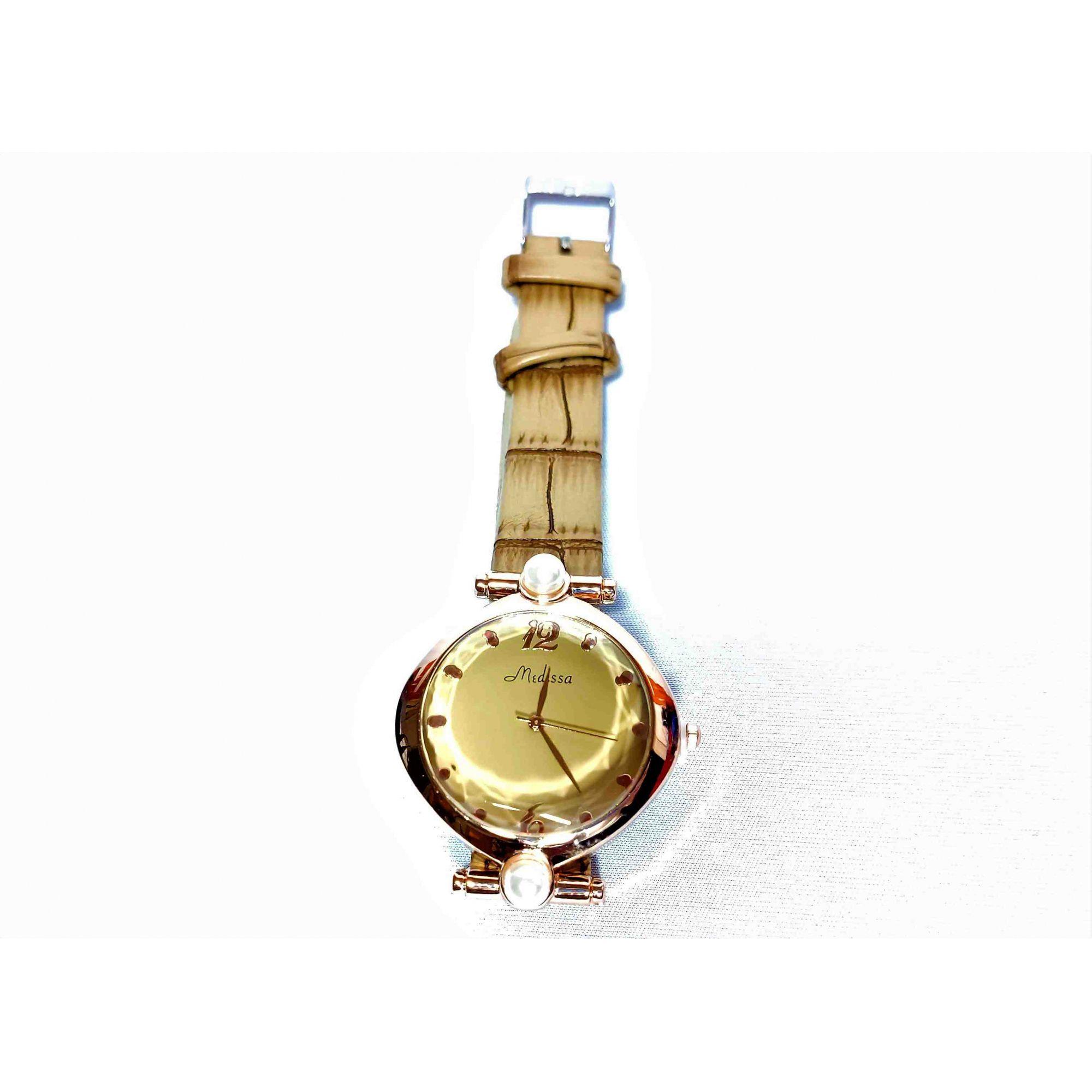 Relógio Feminino Quartz Pulseira Couro Strass