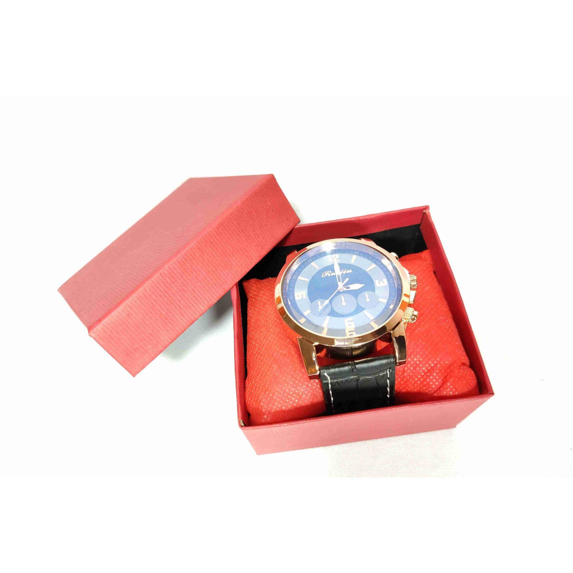 Relógio Masculino Retro Dourado Quartz Pulseira de Couro