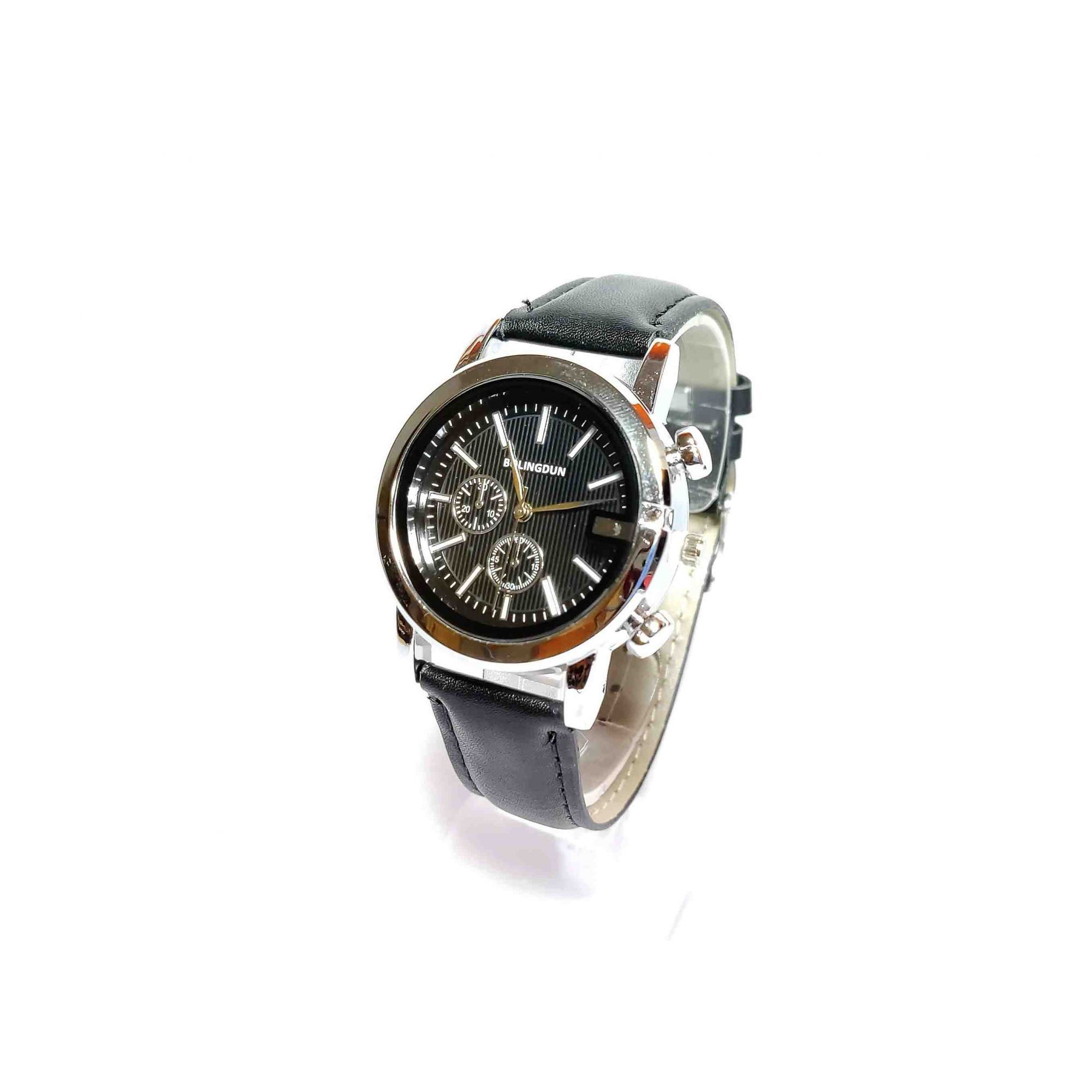Relógio Masculino Retro Quartz Pulseira de Couro Preto
