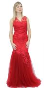 Vestido Sereia Vermelho em Tule e Renda com strass