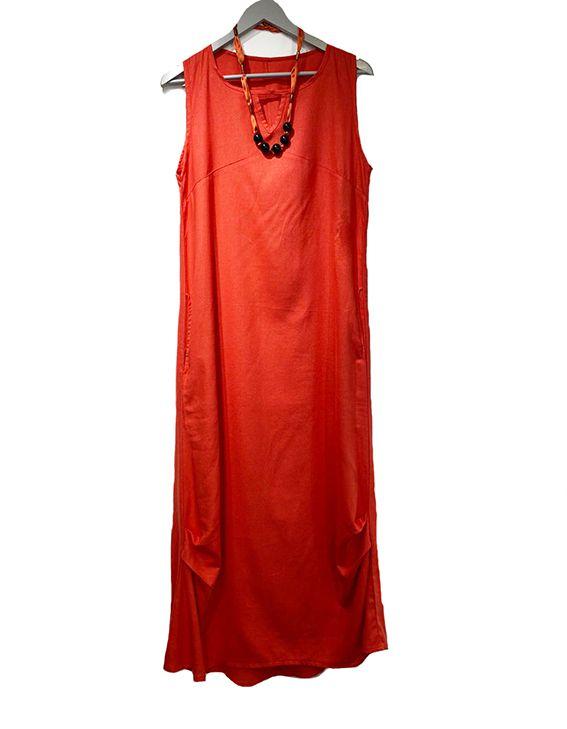 Vestido longo de linho