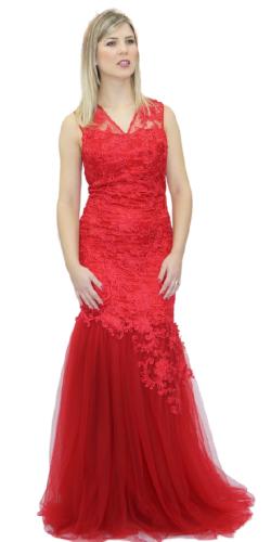 Vestido Sereia Vermelho em Tule e Renda com strass  - CIA. DO AJUSTE