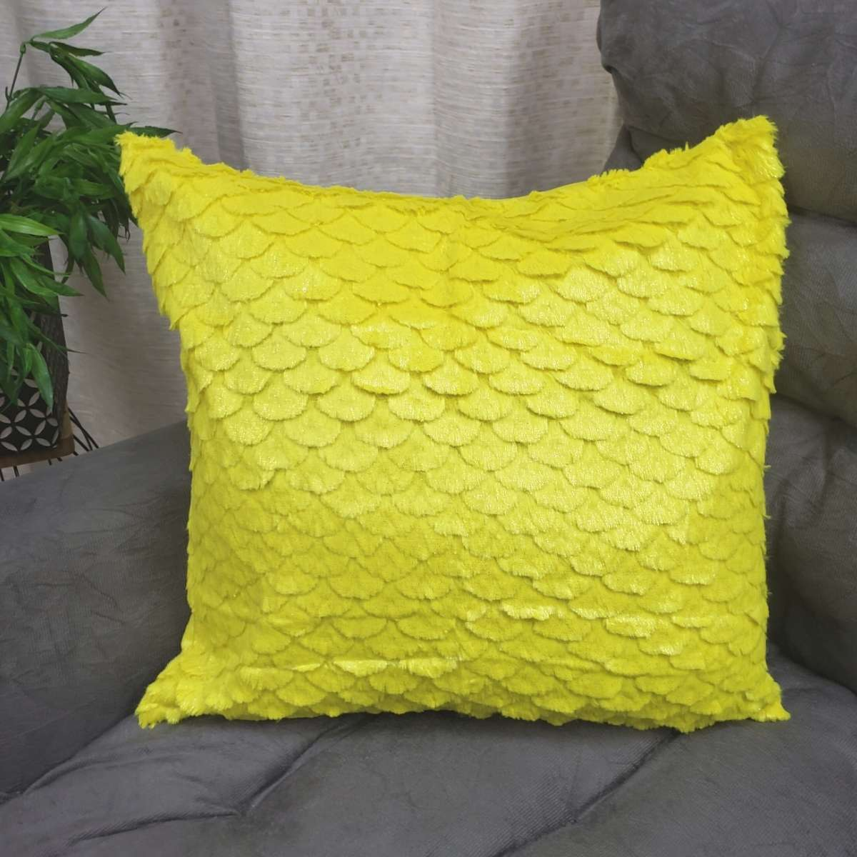 Capa de Almofada Felpuda Macia Wave Amarelo