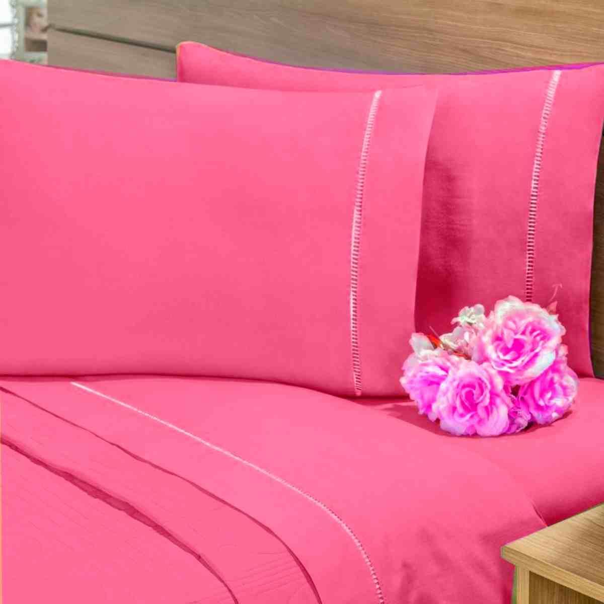 Par de Fronhas Ponto Palito 100% Algodão 150 Fios 50x70 Pink
