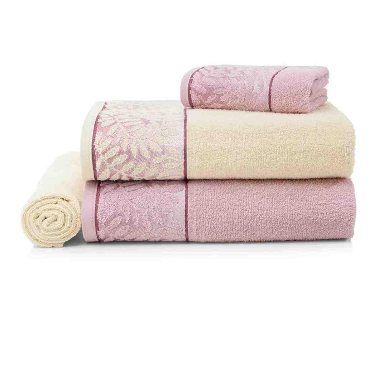 Jogo de banho marsele 4pcs Rosa Tutu com Natural