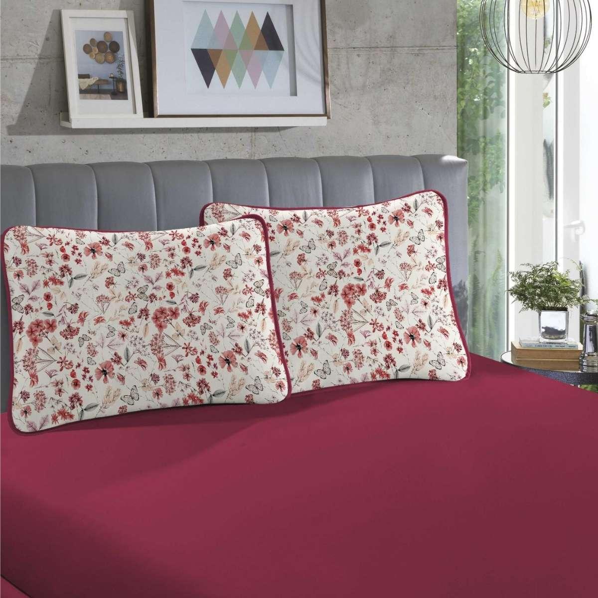 Jogo de cama em malha CASAL 100% Algodão 3 peças Poppy Vermelho