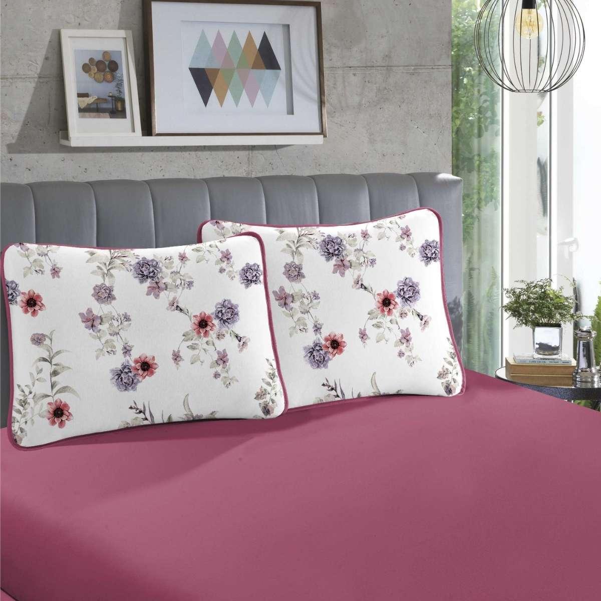 Jogo de cama em malha CASAL 100% Algodão - 1 Lençol CASAL com elástico em toda a volta + 2 fronhas estampadas Talia Cereja