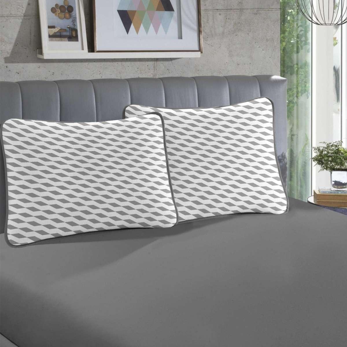 Jogo de cama em malha KING 100% Algodão - 1 Lençol KING com elástico em toda a volta + 2 fronhas estampadas Luna Cinza