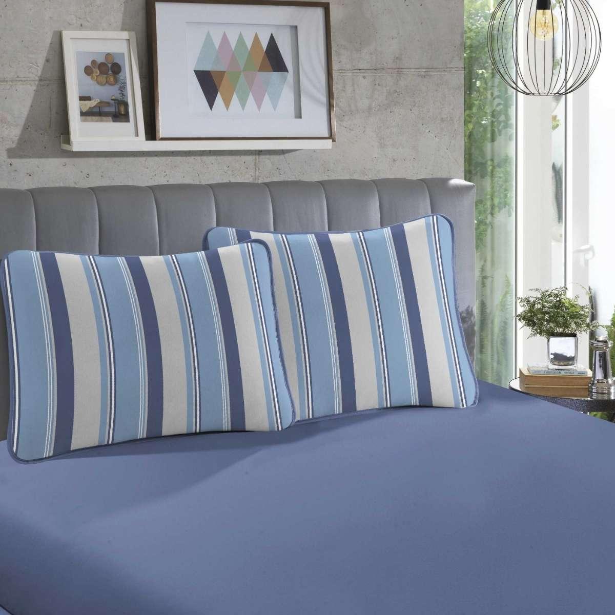 Jogo de cama em malha KING 100% Algodão - 1 Lençol KING com elástico em toda a volta + 2 fronhas estampadas Hermes Azul