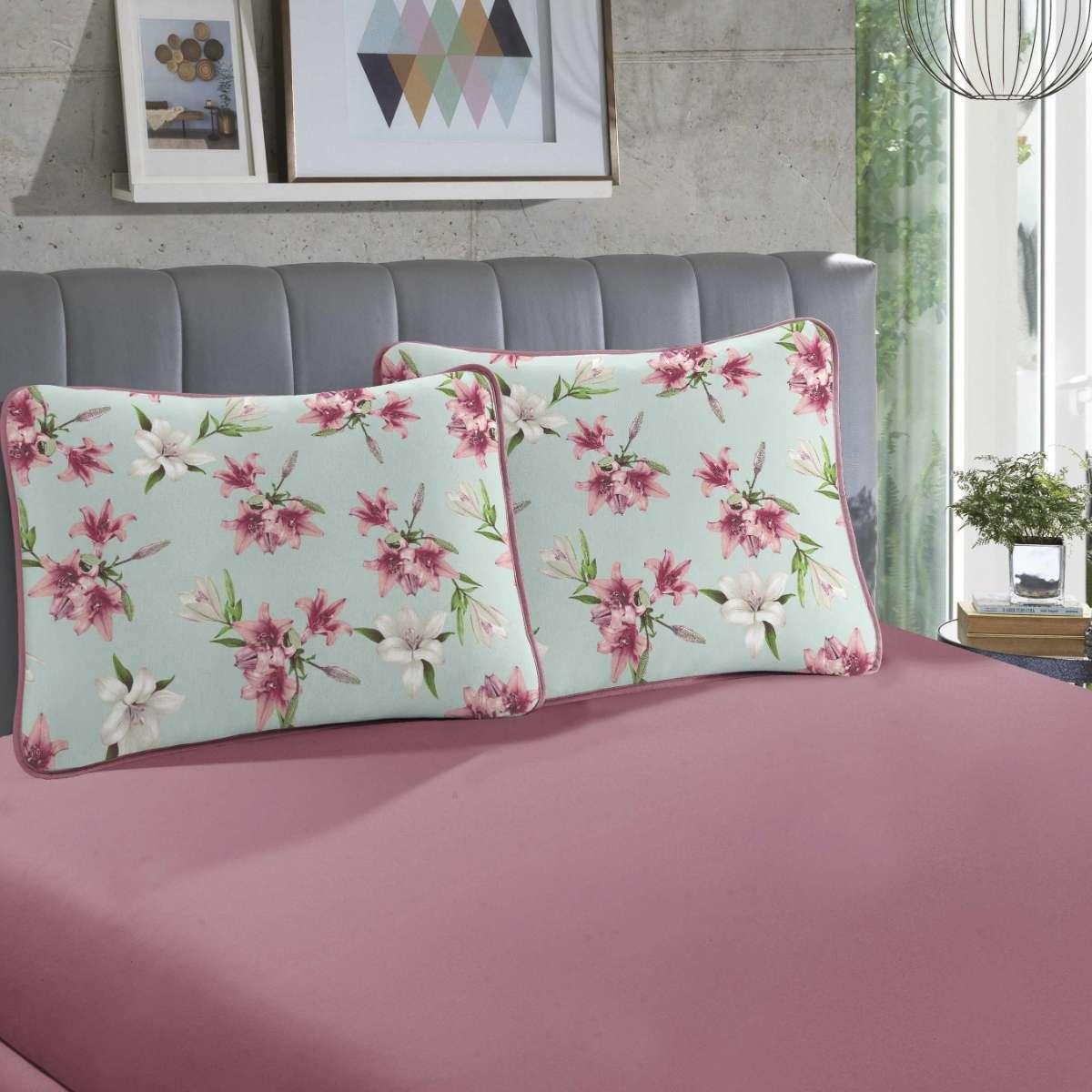 Jogo de cama em malha QUEEN 100% Algodão - 1 Lençol QUEEN com elástico em toda a volta + 2 fronhas estampadas Daphne Rose
