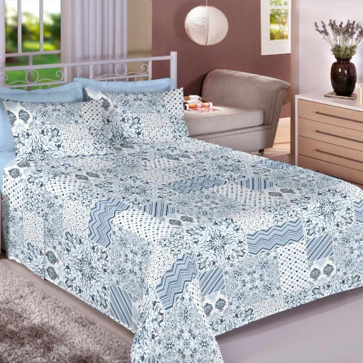 Jogo de Cama Premium 150 Fios King 4Pcs Mosaico Azul