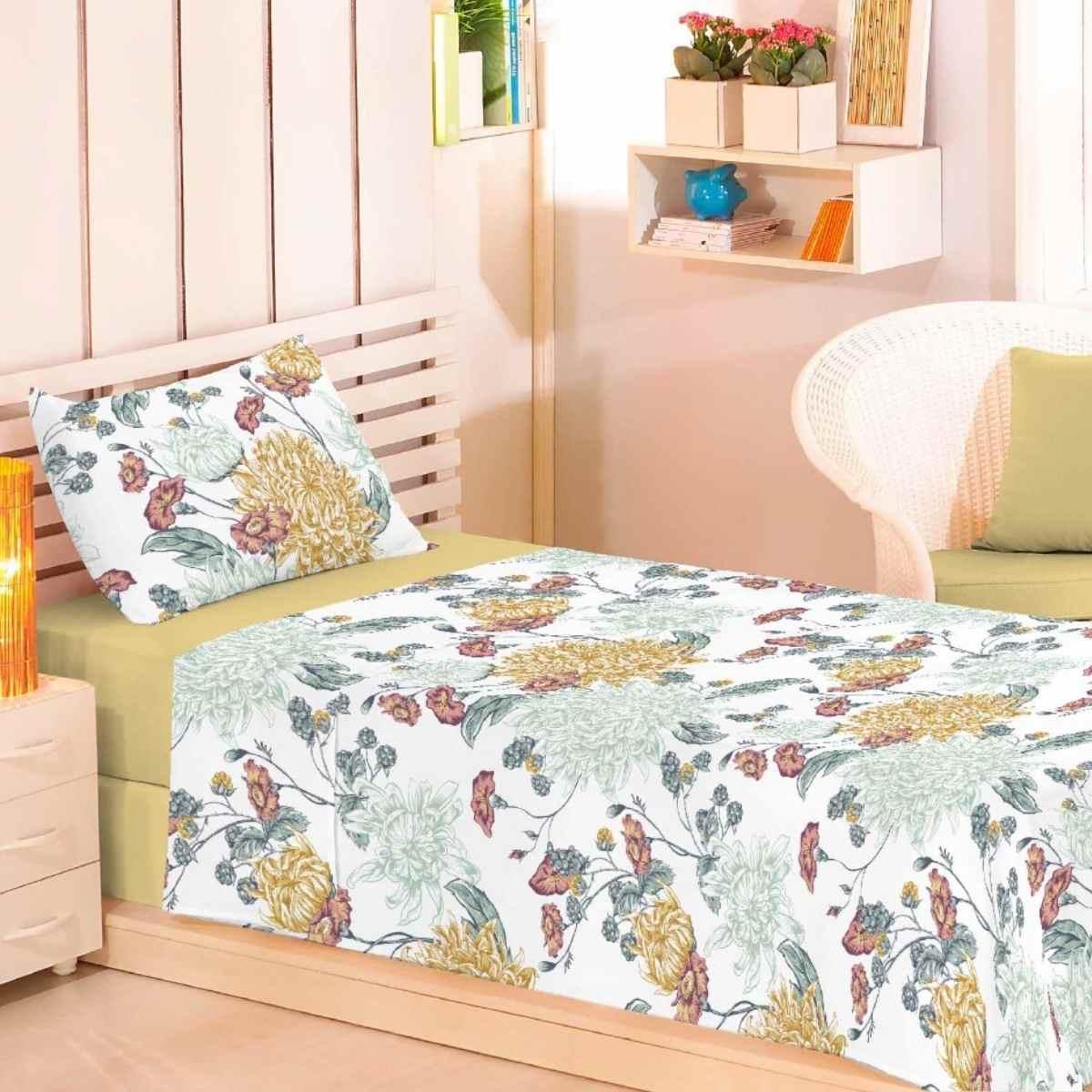 Jogo de Cama Premium 150 Fios Solteiro 3Pcs Floral do Cabo