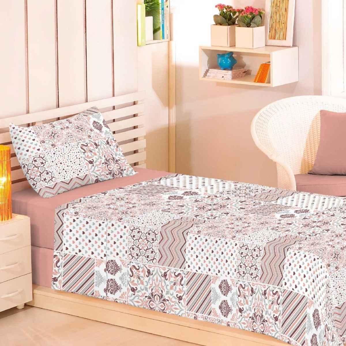 Jogo de Cama Premium 150 Fios Solteiro 3Pcs Mosaico Nude