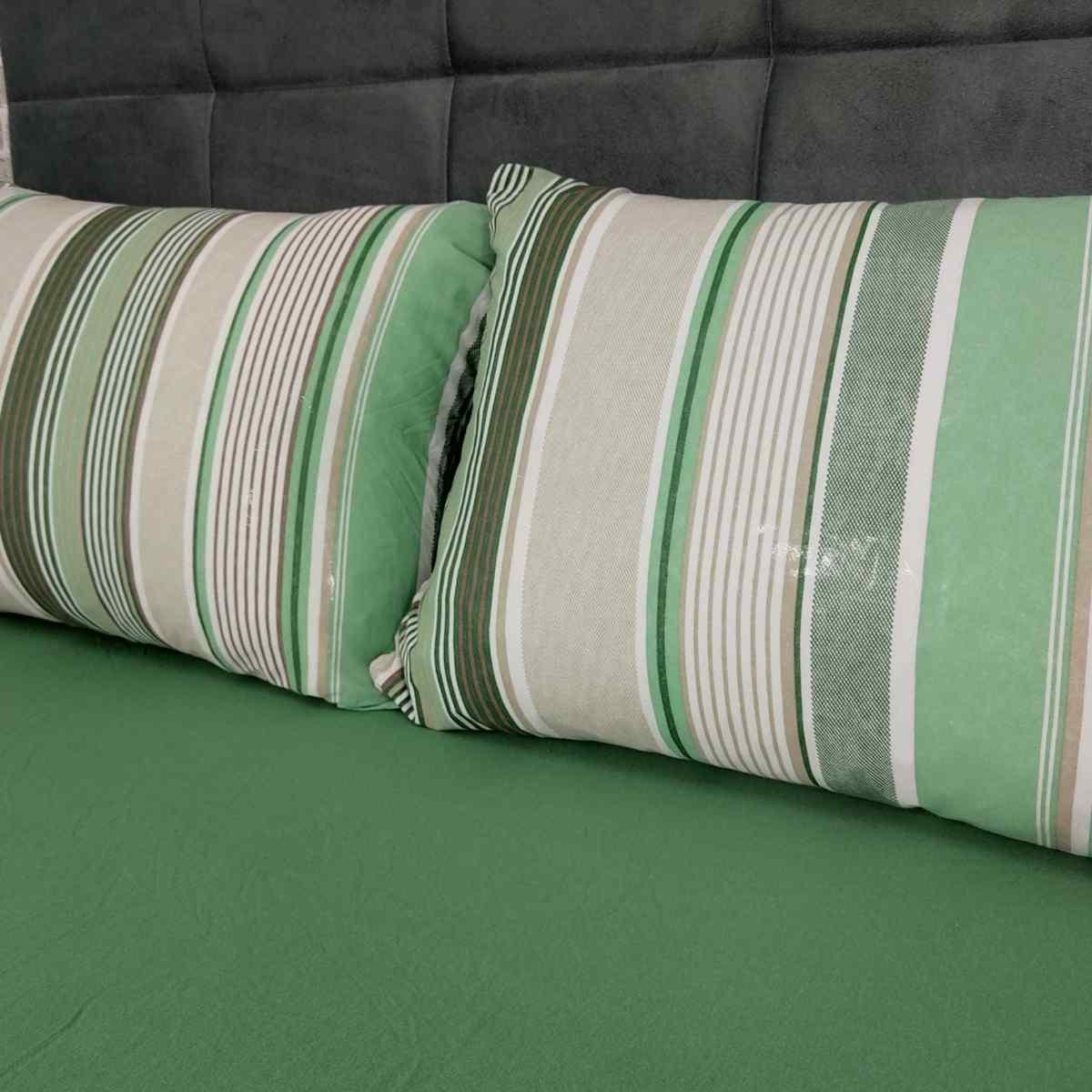 Jogo de Cama Queen em Malha 100% Algodão 3 Peças Stripe/Verde
