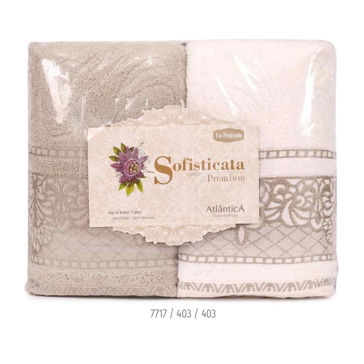 Jogo de toalha imperial 5pcs Estampada Pedra/Off White