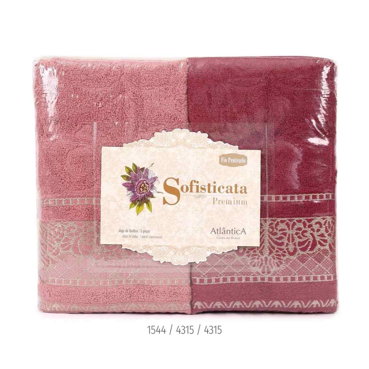 Jogo de toalha imperial 5pcs Estampada/Rosa Pó/Merlot