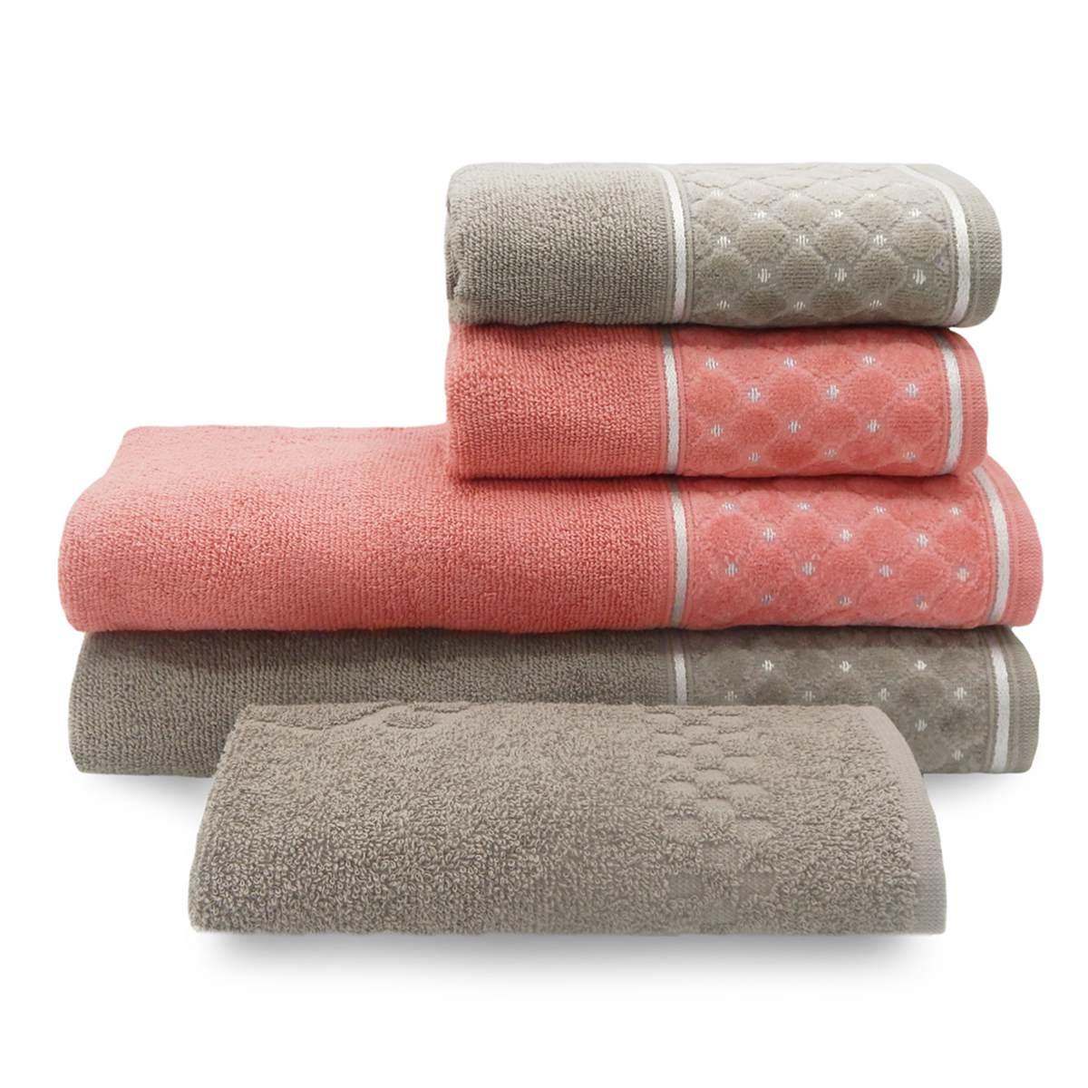 Jg toalha safira 5pcs BLUSH/GRAFITE