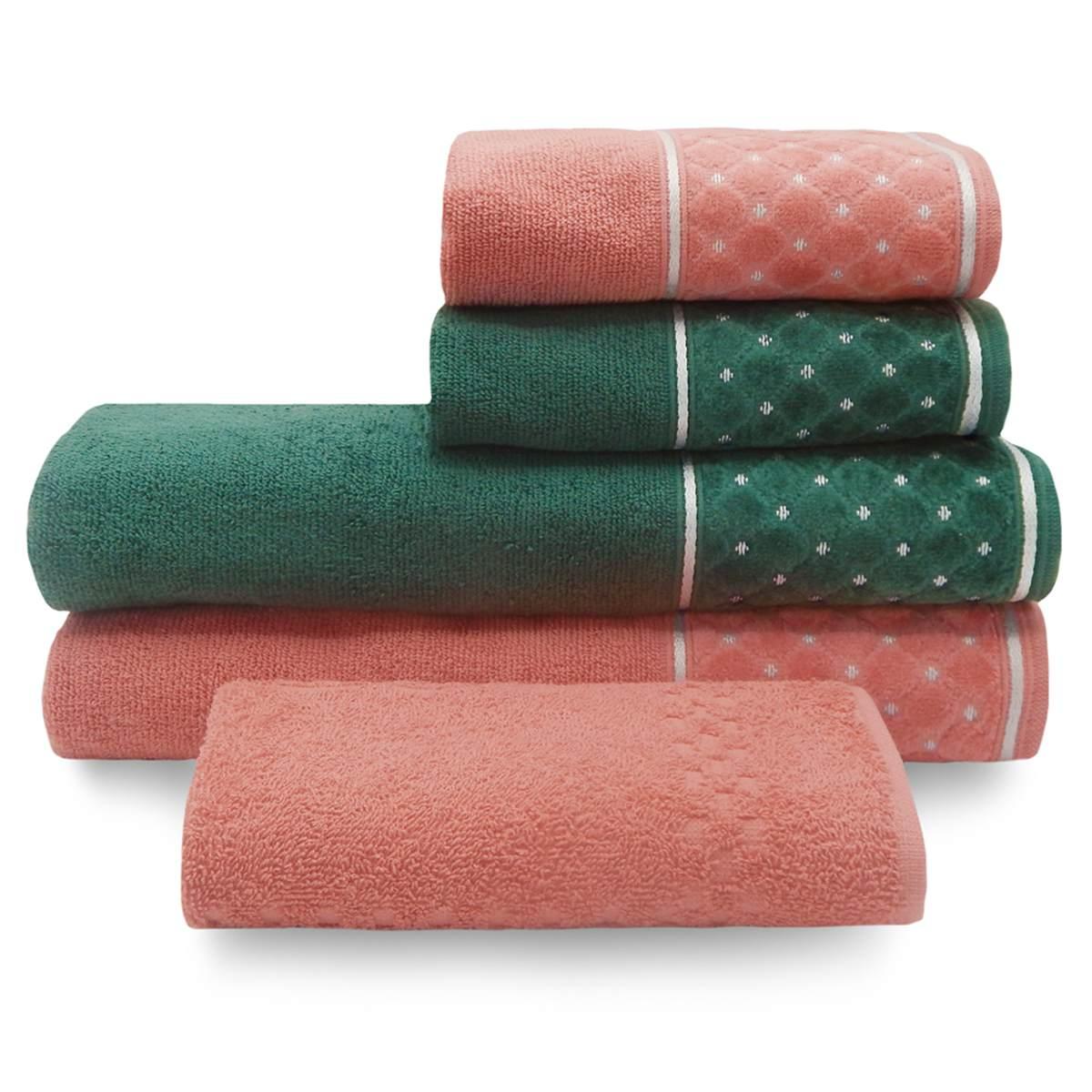 Jogo de Toalha Safira 5 peças 2 cores Blush/Verde