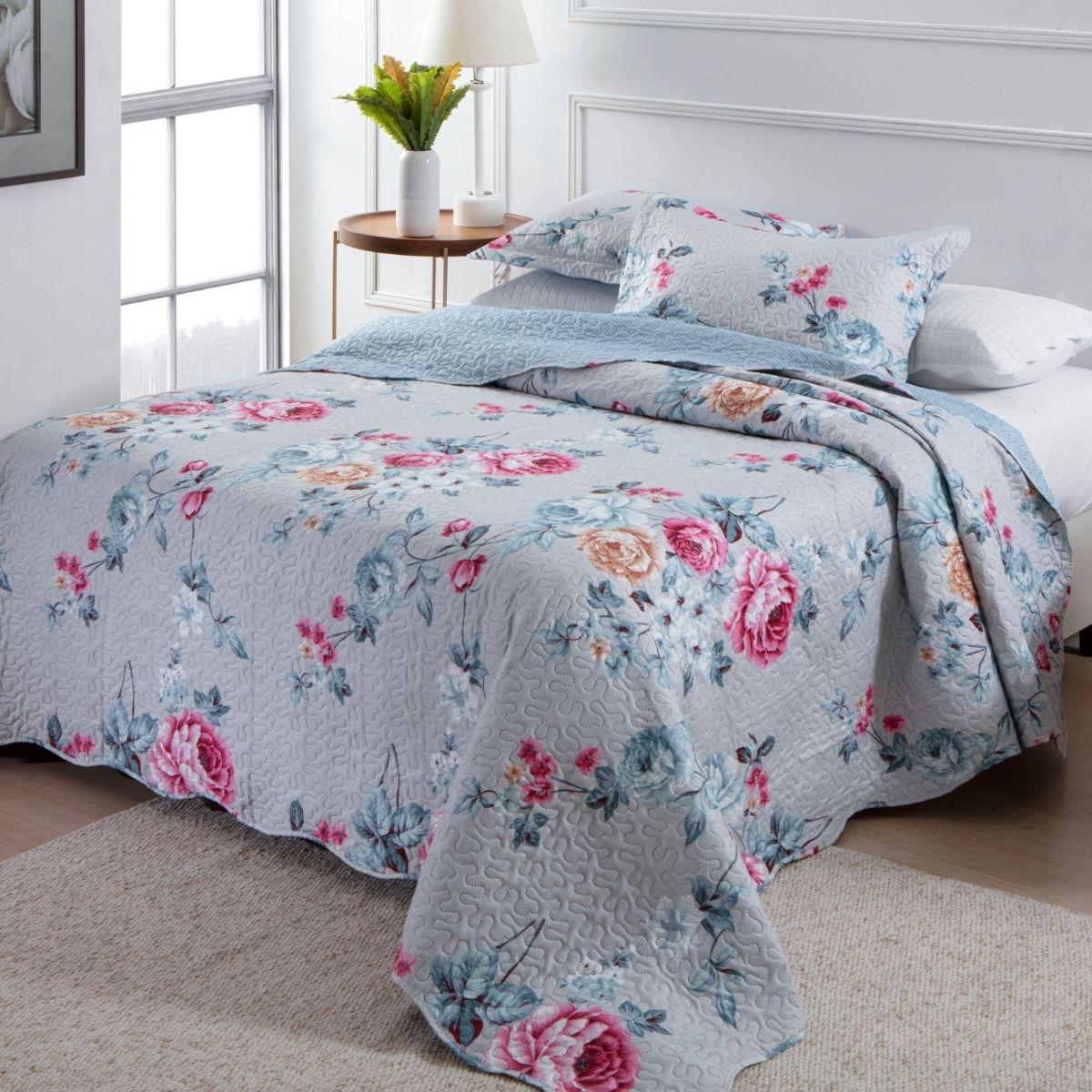 Kit Cobre Leito Casal + 2 Porta-travesseiros Flora 5