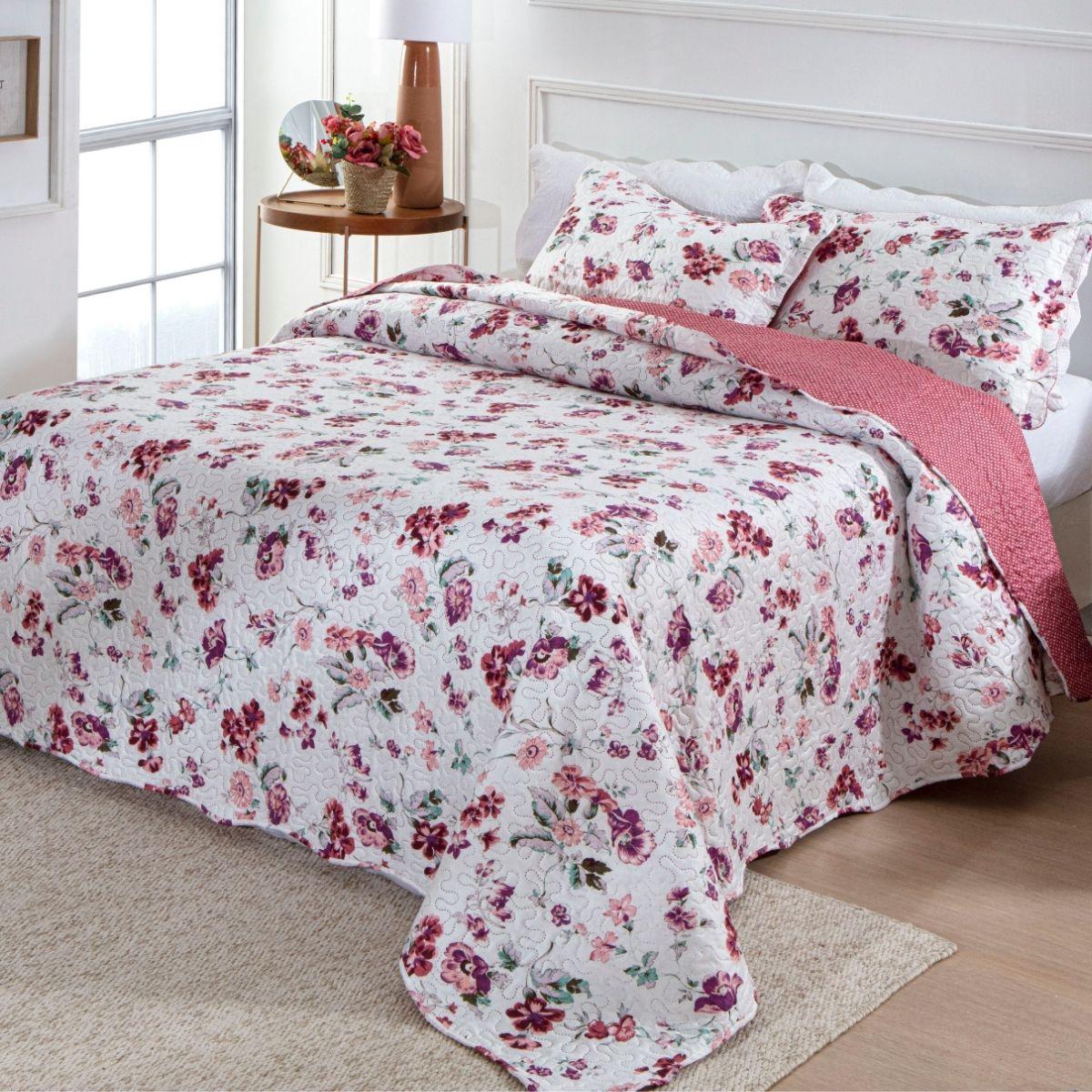 Kit Cobre Leito Casal + 2 Porta-travesseiros Flora 7