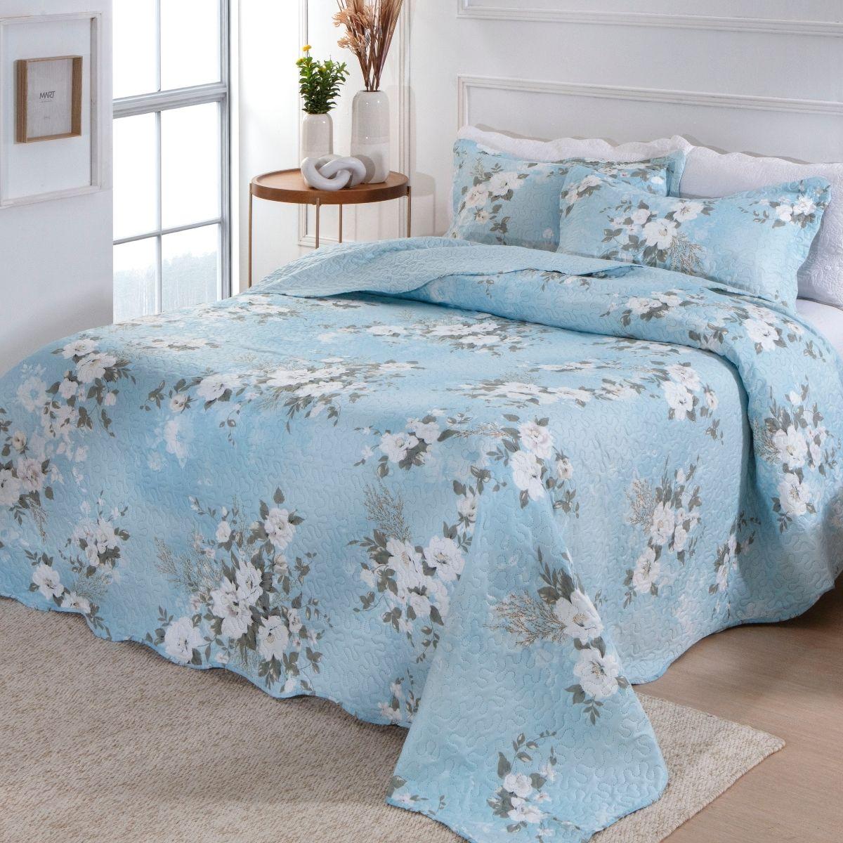 Kit Cobre-Leito Queen + 2 Porta-travesseiros Flora 2