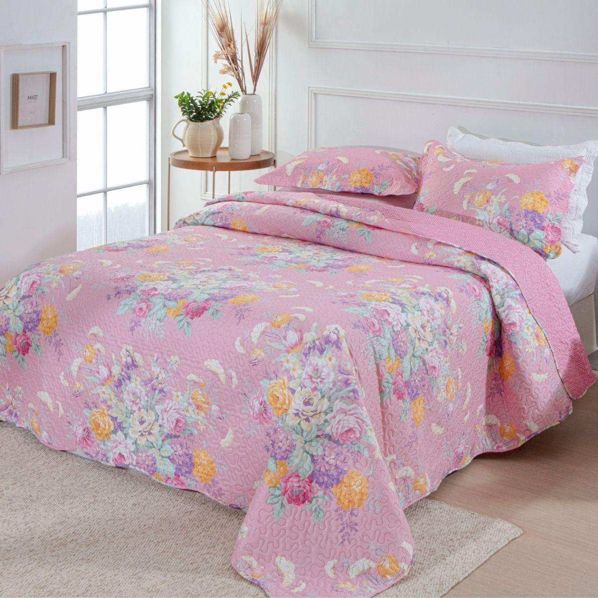 Kit Cobre-Leito Queen + 2 Porta-travesseiros Flora 3