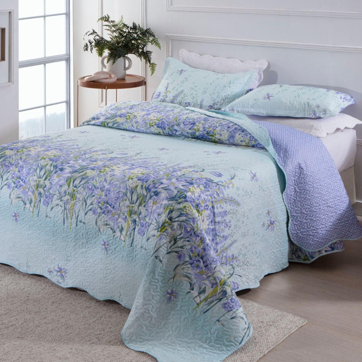 Kit Cobre-Leito Queen + 2 Porta-travesseiros Flora 4