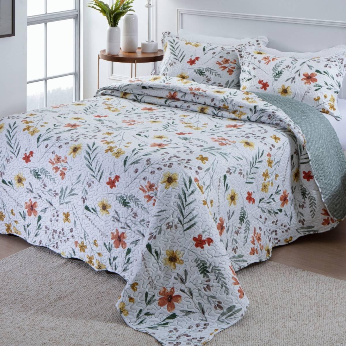 Kit Cobre-Leito Queen + 2 Porta-travesseiros Flora 8