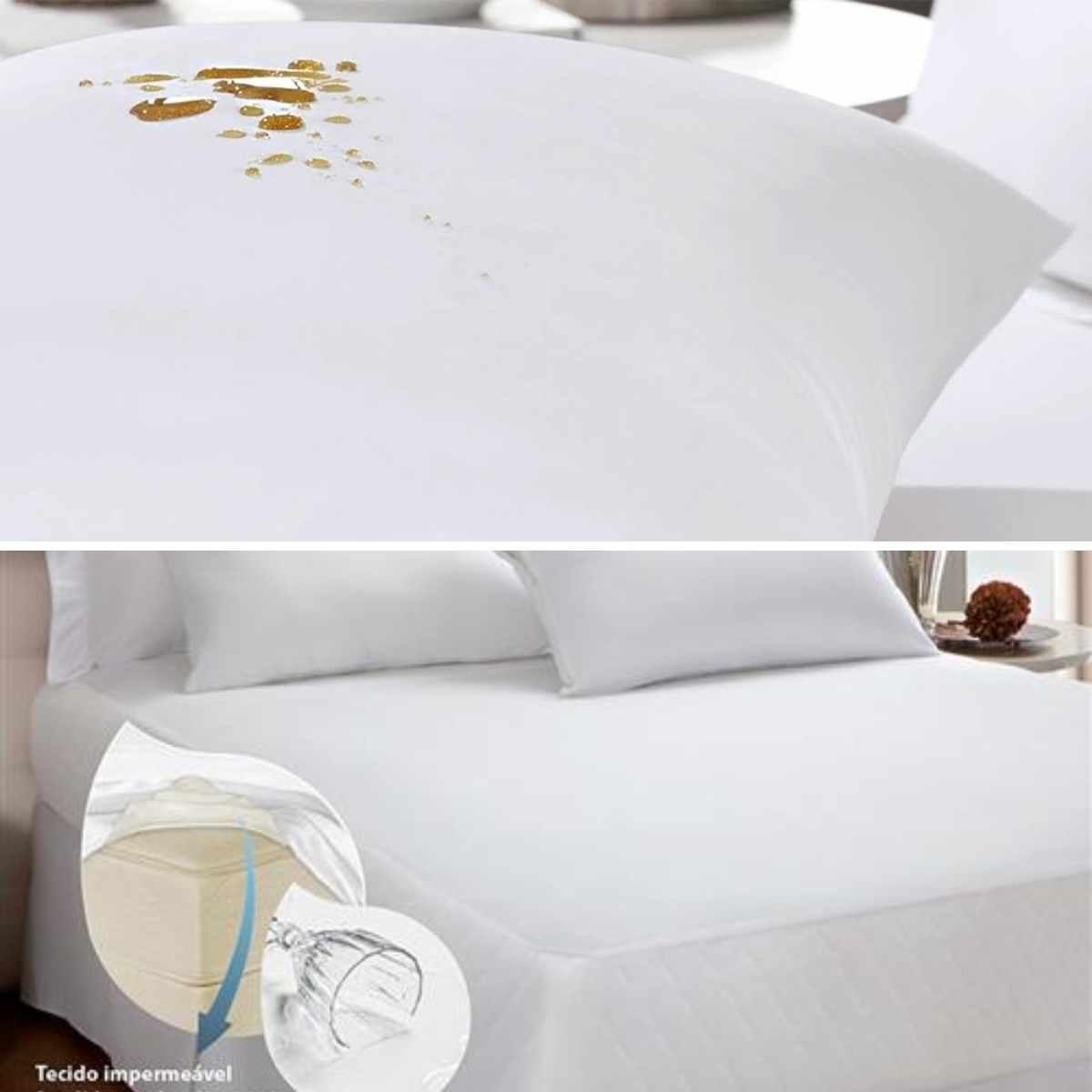 Kit 3 peças - 1  Protetor de Colchão Malha Impermeável Casal + 2 Protetores de Travesseiro Malha Impermeável 50x70 Única