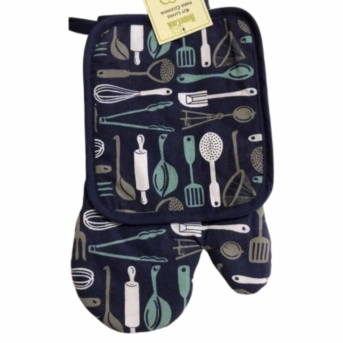 Kit  Escorredor de Louça Azul + Luva para Cozinha 2 Peças Home Cook Kitchen