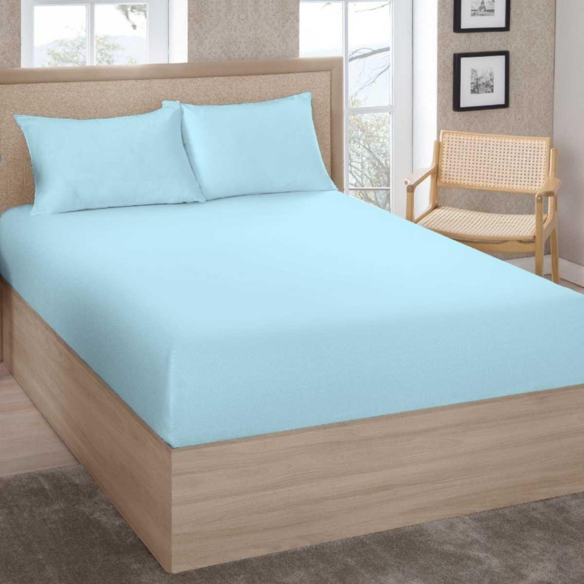 Lençol Premium Solteiro 200 Fios 100% Algodão C/Elástico Azul