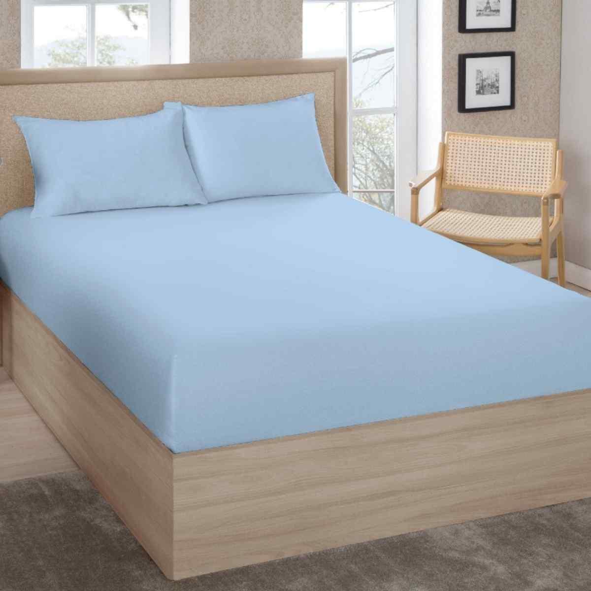 Lençol Premium King 200 Fios 100% Algodão C/Elástico Azul