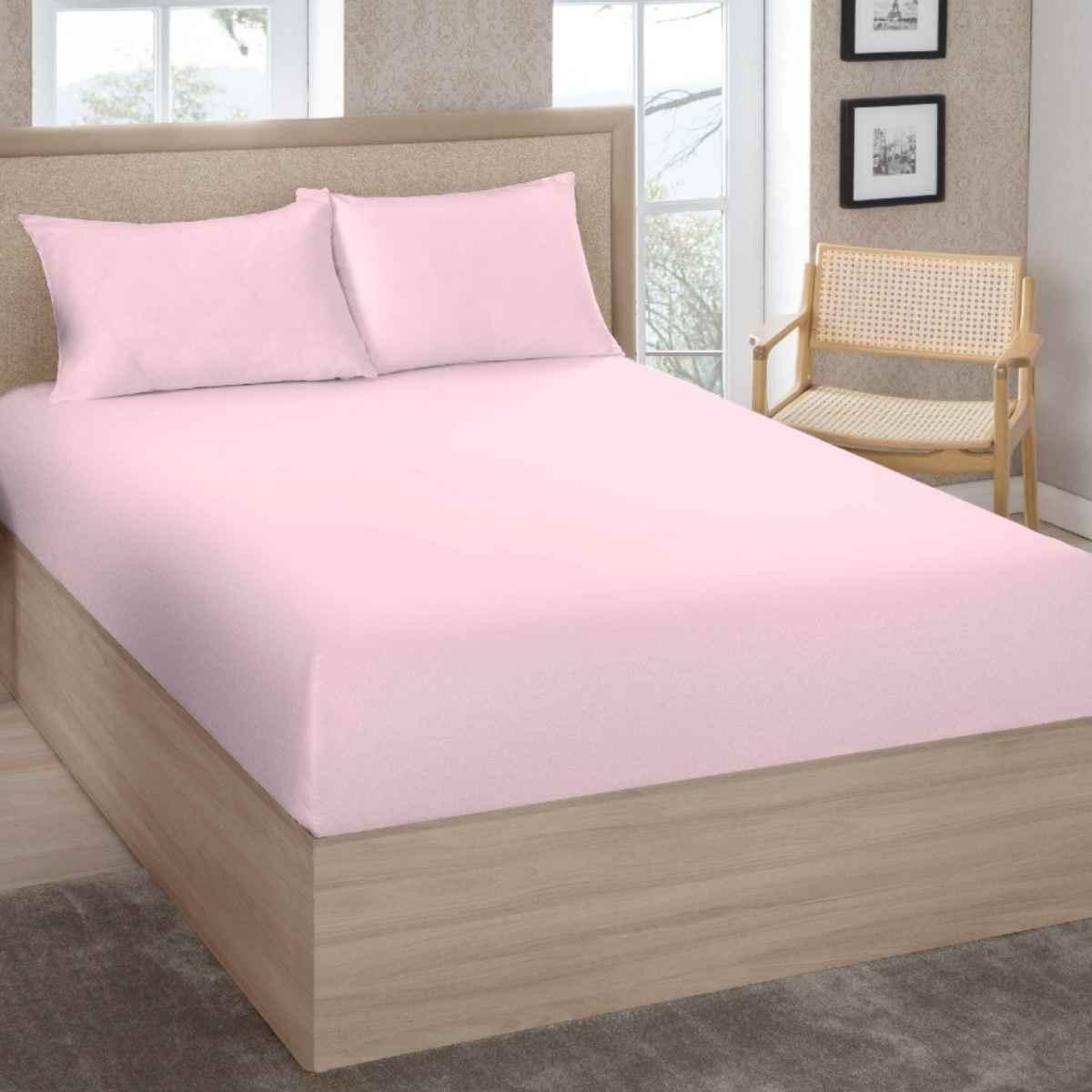 Lençol Premium King 200 Fios 100% Algodão C/Elástico Rosê