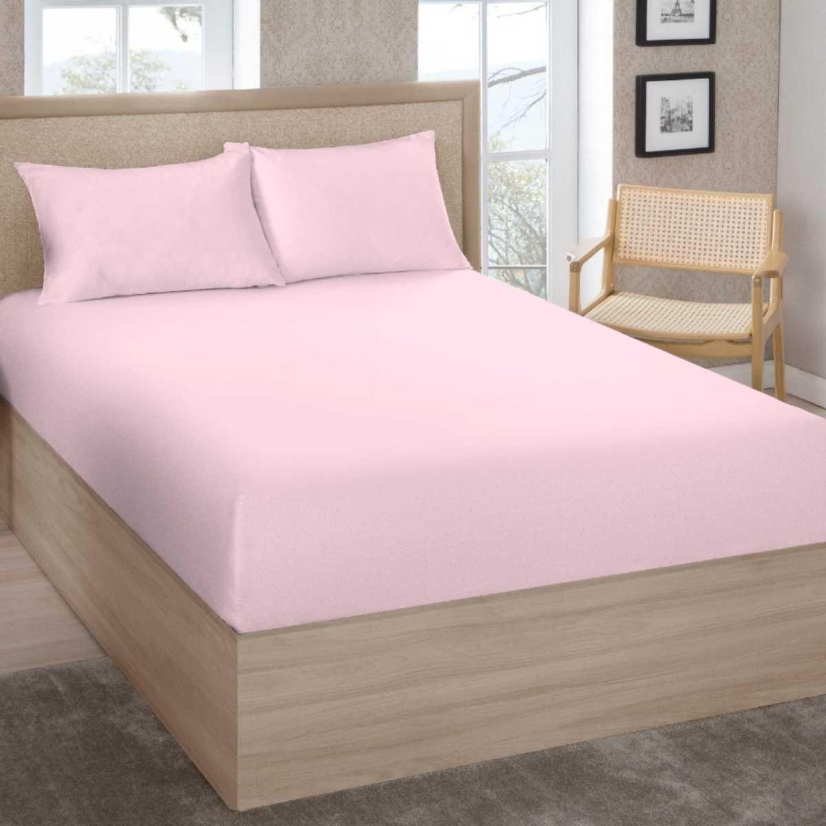 Lençol Premium Solteiro 200 Fios 100% Algodão C/Elástico Rosê
