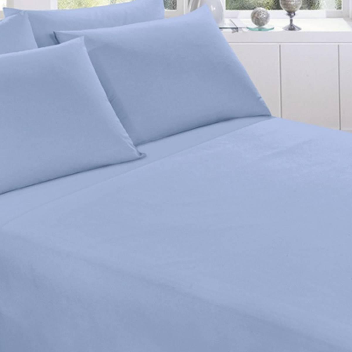 Lencol Royal Solteiro 100% Algodão com Elástico Azul