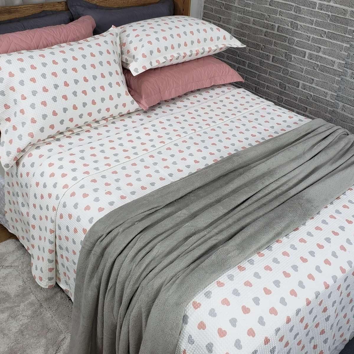 Manta Cobertor Sofisticata Queen 220x240 Cinza Pedra