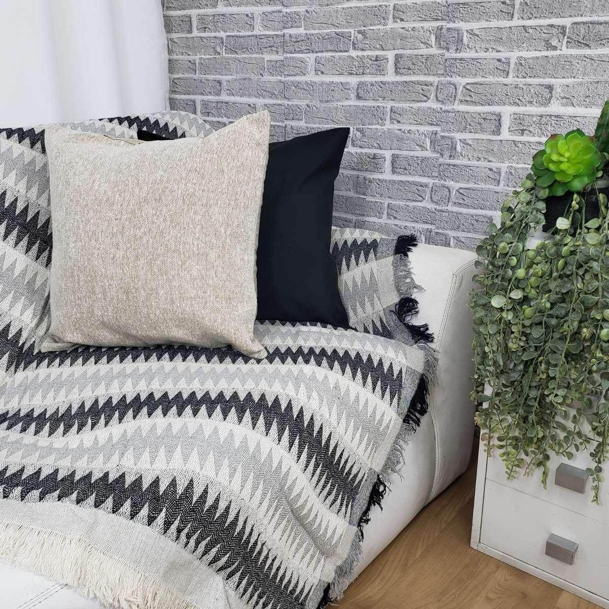 Manta sofa soft 140x170 Bali 05 Chevron Preto