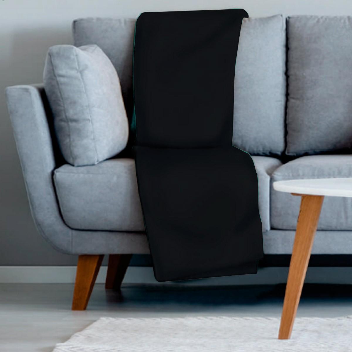Manta sofa veludo 210x140 PRETO