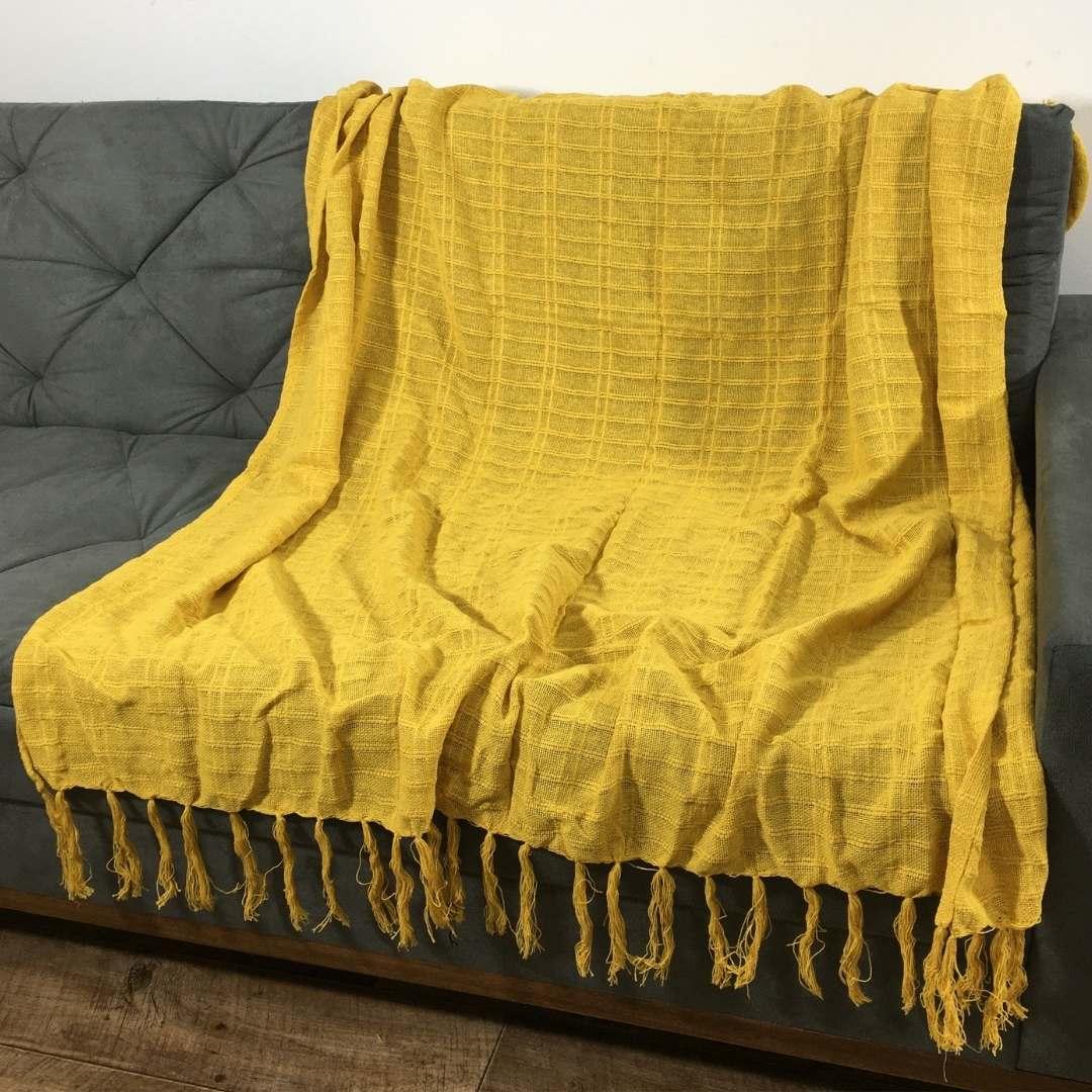 Manta Tropical para Sofá 1,40m x 1,80m Amarelo
