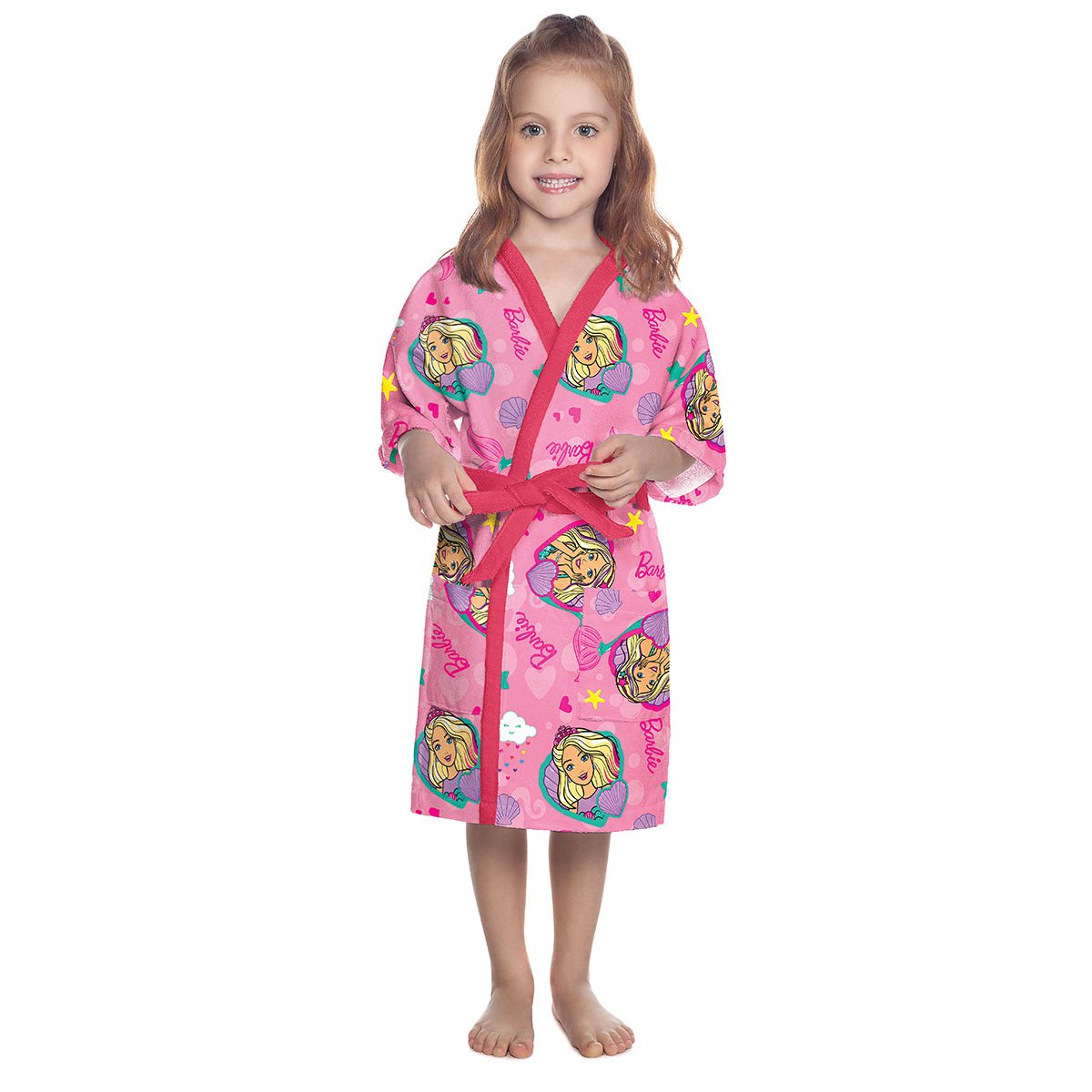 Roupao infantil aveludado g Barbie 73208