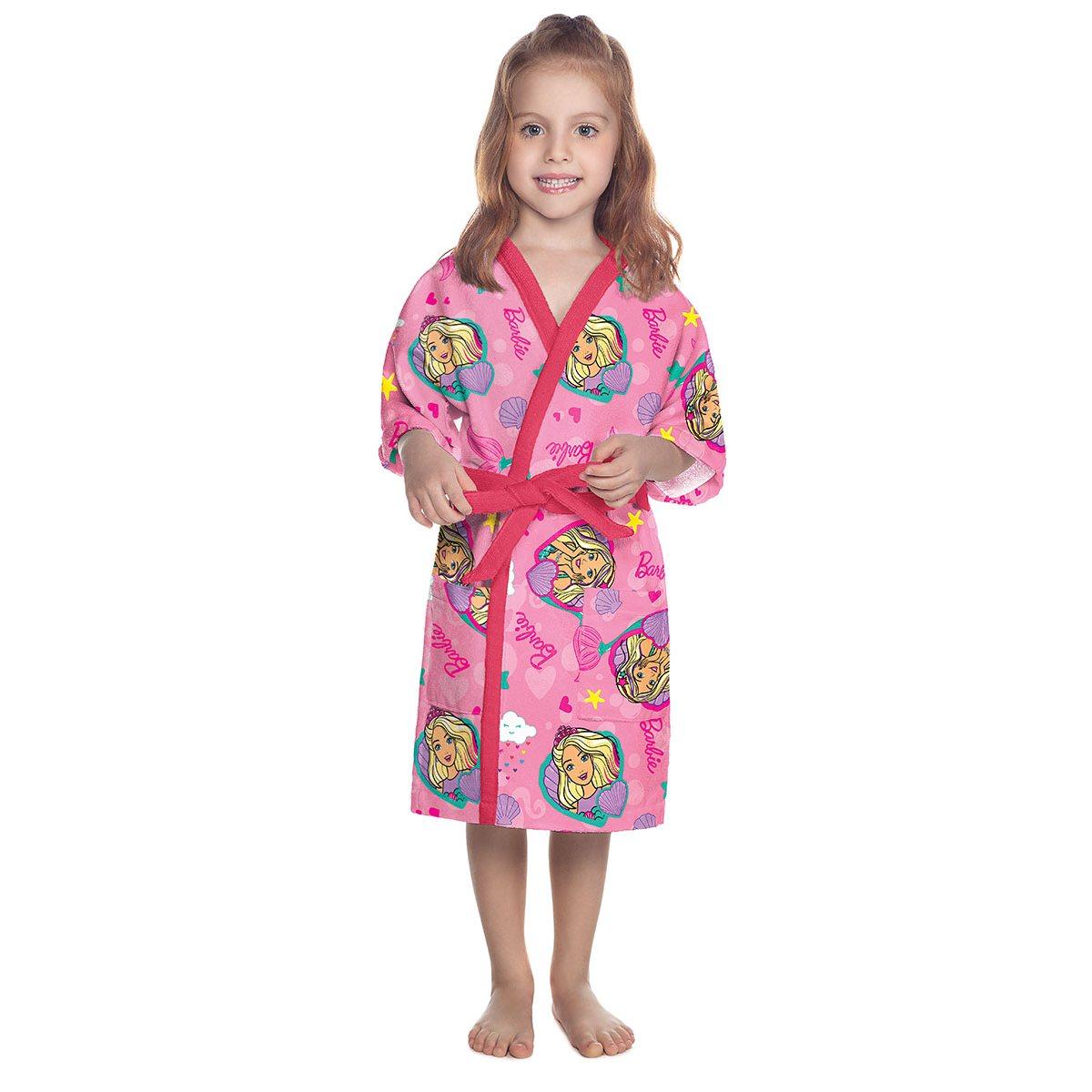 Roupão Infantil Aveludado M - Barbie 73207