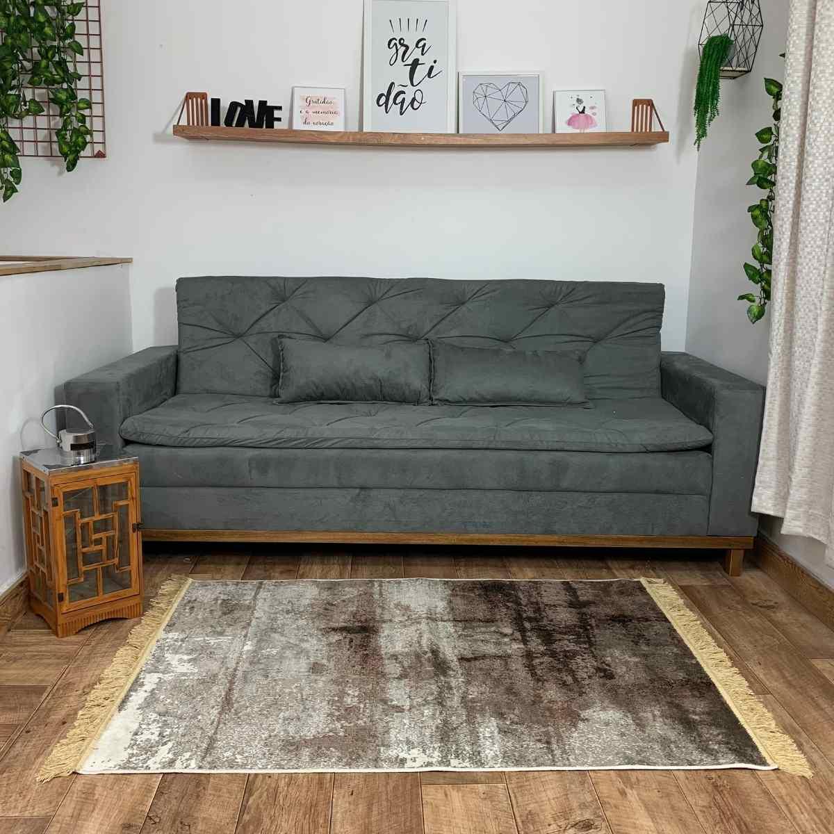 Tapete Bruxelas/Madri Belga 100x140 Café com Cinza