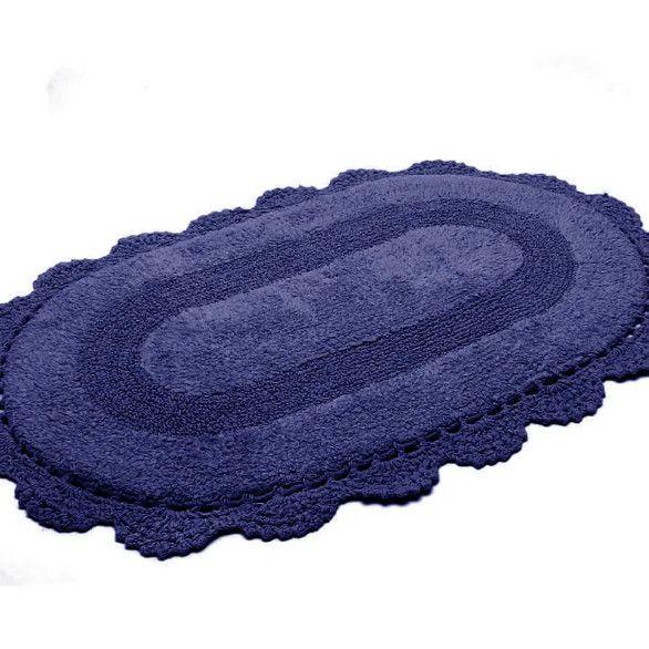 Tapete Croche Oval 40x60 AZUL