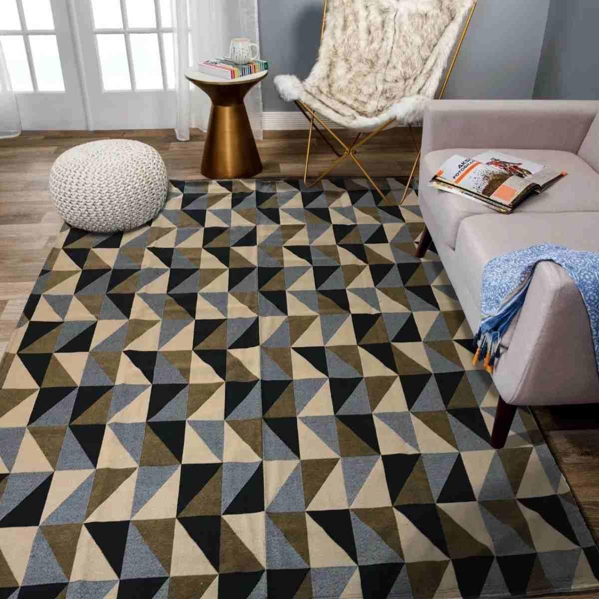 Tapete Geometrico para Sala Dubai Caramelo com Preto - 200x132